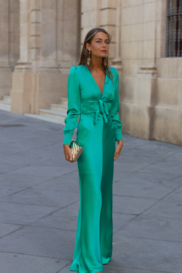vestido largo lazo escote