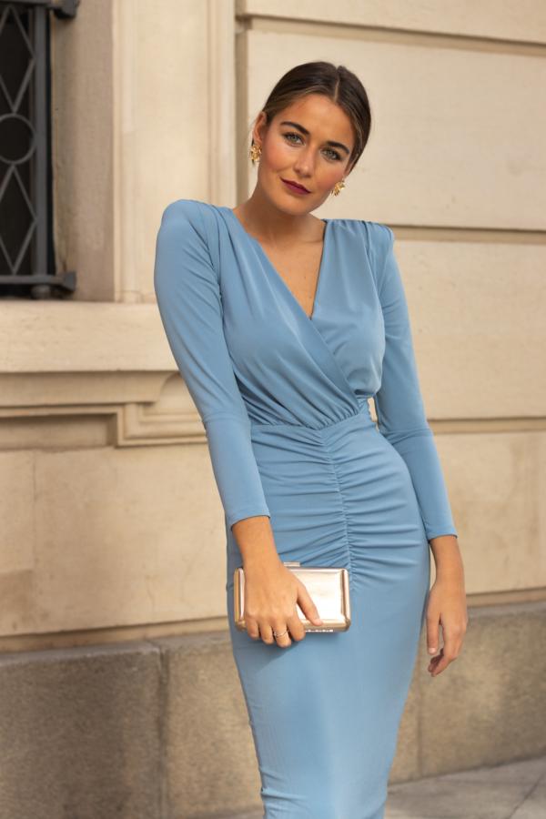 vestido escote cruzado punto de seda