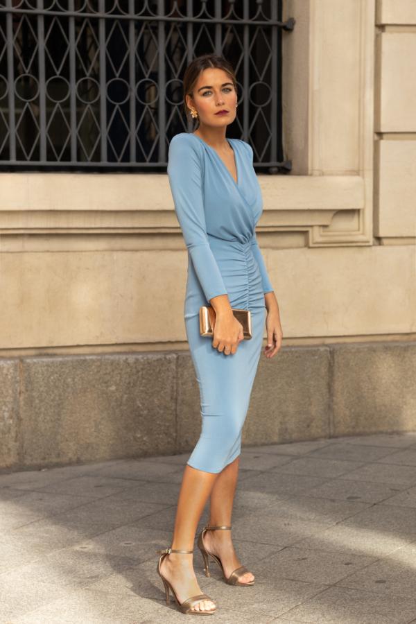 vestido punto de seda azul grisaceo
