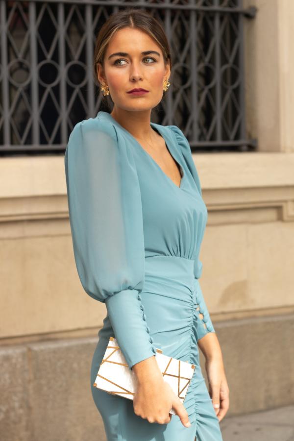 vestido gasa manga abullonada